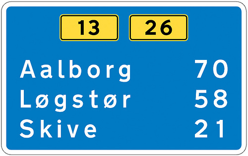 Denmark uses the Dansk Vejtavleskrift typeface. The typeface is derived from the British Transport typeface.