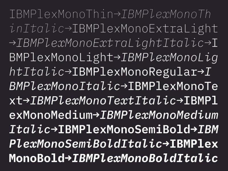IBM Plex Mono - Font List entries - Typography Guru