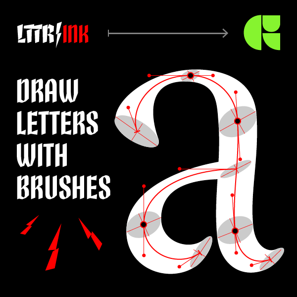 LTTR/INK: Click here and try drawing letters with skeletons and brushes.
